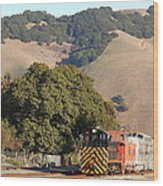 Historic Niles Trains In California . Old Southern Pacific Locomotive And Sante Fe Caboose . 7d10817 Wood Print