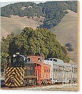 Historic Niles Trains In California . Old Southern Pacific Locomotive And Sante Fe Caboose . 7d10818 Wood Print