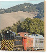 Historic Niles Trains In California . Old Southern Pacific Locomotive And Sante Fe Caboose . 7d10819 Wood Print