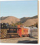 Historic Niles Trains In California . Old Southern Pacific Locomotive And Sante Fe Caboose . 7d10822 Wood Print