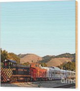 Historic Niles Trains In California . Old Southern Pacific Locomotive And Sante Fe Caboose . 7d10869 Wood Print by Wingsdomain Art and Photography