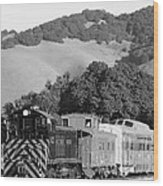 Historic Niles Trains In California . Southern Pacific Locomotive And Sante Fe Caboose.7d10819.bw Wood Print by Wingsdomain Art and Photography