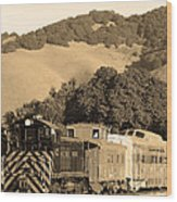 Historic Niles Trains In California.southern Pacific Locomotive And Sante Fe Caboose.7d10819.sepia Wood Print