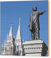 Historic Salt Lake Mormon Lds Temple And Brigham Young Wood Print
