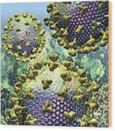 Hiv Three Virions On Blue Wood Print