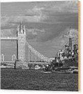 Hms Belfast And Tower Bridge Wood Print