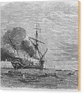 Hms Bombay Burning, 1865 Wood Print