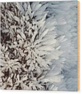Hoar Frost Crystals On A Rock Wood Print