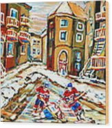 Hockey Art Hockey Game Plateau Montreal Street Scene Wood Print