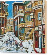 Hockey Art In Montreal Wood Print