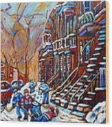 Hockey Art Montreal Streets Wood Print