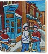 Hockey Game Corner Clark And Fairmount Wilenskys Paintings Wood Print by Carole Spandau