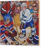 Hockey Game Scoring The Goal Wood Print by Carole Spandau