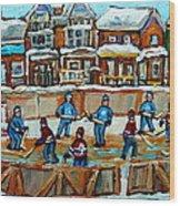 Hockey Rink Montreal Street Scene Wood Print by Carole Spandau