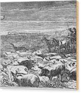 Hog Driving, 1868 Wood Print