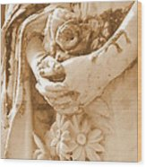 Holding In Sepia Wood Print