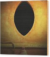 Hole In The Wall With Lamp Wood Print