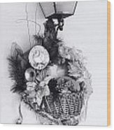 Holiday Basket On Lamp Bw Wood Print