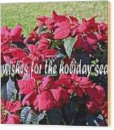 Holiday Greetings With Poinsettias Wood Print
