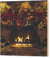 Holiday Hearth Wood Print
