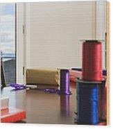 Holiday Ribbon On Table Wood Print