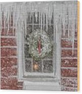 Holiday Wreath In Window With Icicles During Blizzard Of 2005 On Wood Print