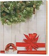 Holiday Wreath With Snow Globe  Wood Print
