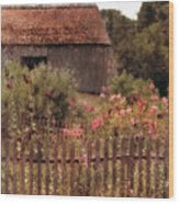 Hollyhocks And Thatched Roof Barn Wood Print