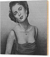 hollywood greats Elizabeth Taylor Wood Print