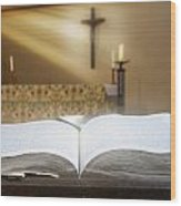 Holy Bible In A Church Wood Print