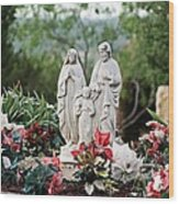 Holy Family In The Garden Wood Print