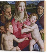 Holy Family With St Anne And The Infant St John The Baptist Wood Print by Agnolo Bronzino