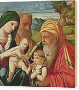 Holy Family With St. Simeon And John The Baptist Wood Print