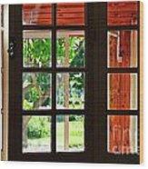 Home Garden Through Window Wood Print