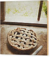 Home Made Pie Cooling By Open Window Wood Print