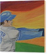 Home Run Swing Baseball Batter Wood Print by First Star Art