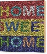 Home Sweet Home Bottle Cap Mosaic  Wood Print by Paul Van Scott