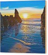 Honda Cove Sunset Wood Print