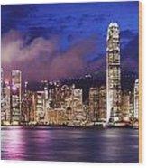 Hong Kong At Night Wood Print
