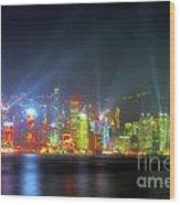 Hong Kong Night Lights Wood Print