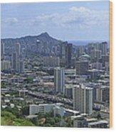 Honolulu And Diamond Head Wood Print