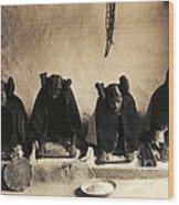 Hopi Girls Grinding Corn Wood Print