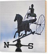 Horse And Buggy Weather Vane Wood Print