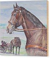 Horse And Cart Wood Print