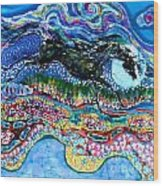 Horse Born Of Moon Energy Wood Print by Carol Law Conklin