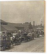 Horse Drawn Wagons Crowd New York Piers Wood Print