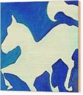 Horse In Blue And White Wood Print