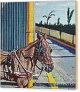 Horse In Malate Wood Print