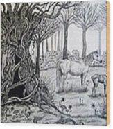 Horse Meadow Wood Print