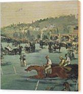 Horse Racing Wood Print